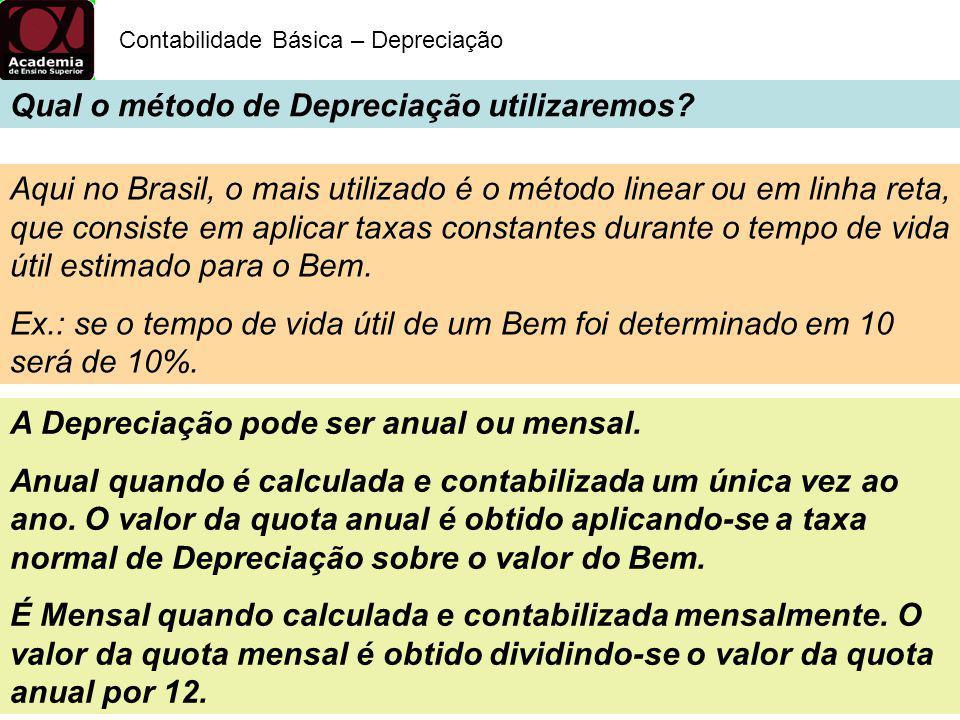 Qual o método de Depreciação utilizaremos? Contabilidade Básica – Depreciação Prazos usualmente admitidos, e suas respectivas taxas de Depreciação dos