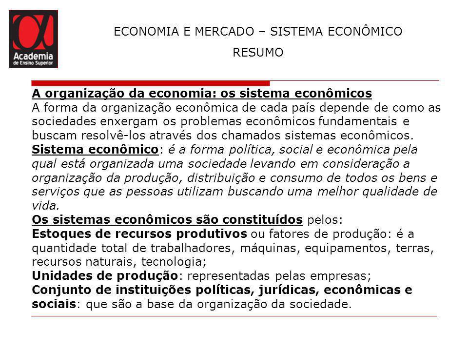 ECONOMIA E MERCADO – SISTEMA ECONÔMICO RESUMO A organização da economia: os sistema econômicos A forma da organização econômica de cada país depende d