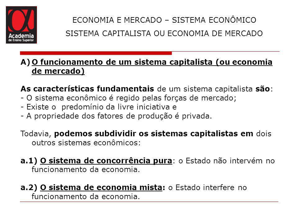 ECONOMIA E MERCADO – SISTEMA ECONÔMICO SISTEMA CAPITALISTA OU ECONOMIA DE MERCADO A)O funcionamento de um sistema capitalista (ou economia de mercado)