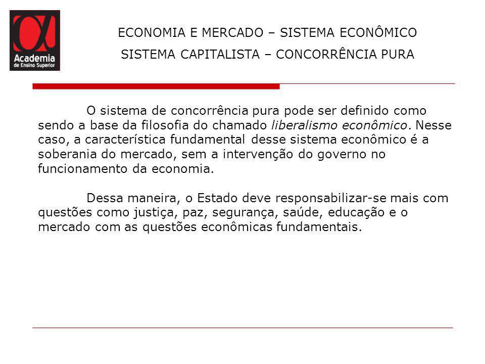 ECONOMIA E MERCADO – SISTEMA ECONÔMICO SISTEMA CAPITALISTA – CONCORRÊNCIA PURA O sistema de concorrência pura pode ser definido como sendo a base da f