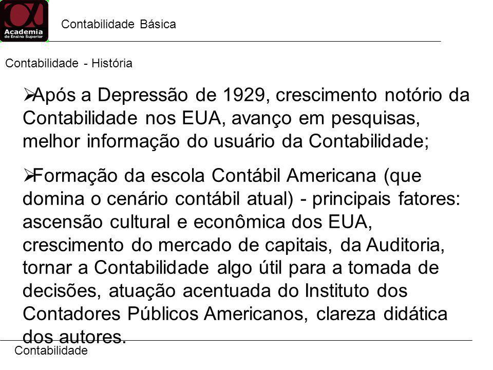 Contabilidade Básica Contabilidade Após a Depressão de 1929, crescimento notório da Contabilidade nos EUA, avanço em pesquisas, melhor informação do u