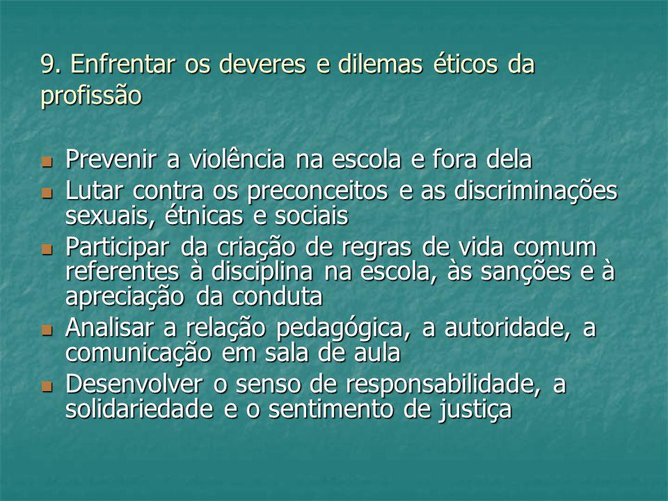 9. Enfrentar os deveres e dilemas éticos da profissão Prevenir a violência na escola e fora dela Prevenir a violência na escola e fora dela Lutar cont
