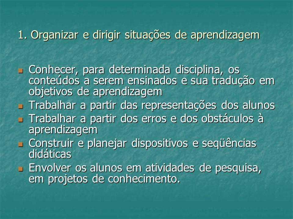 1. Organizar e dirigir situações de aprendizagem Conhecer, para determinada disciplina, os conteúdos a serem ensinados e sua tradução em objetivos de