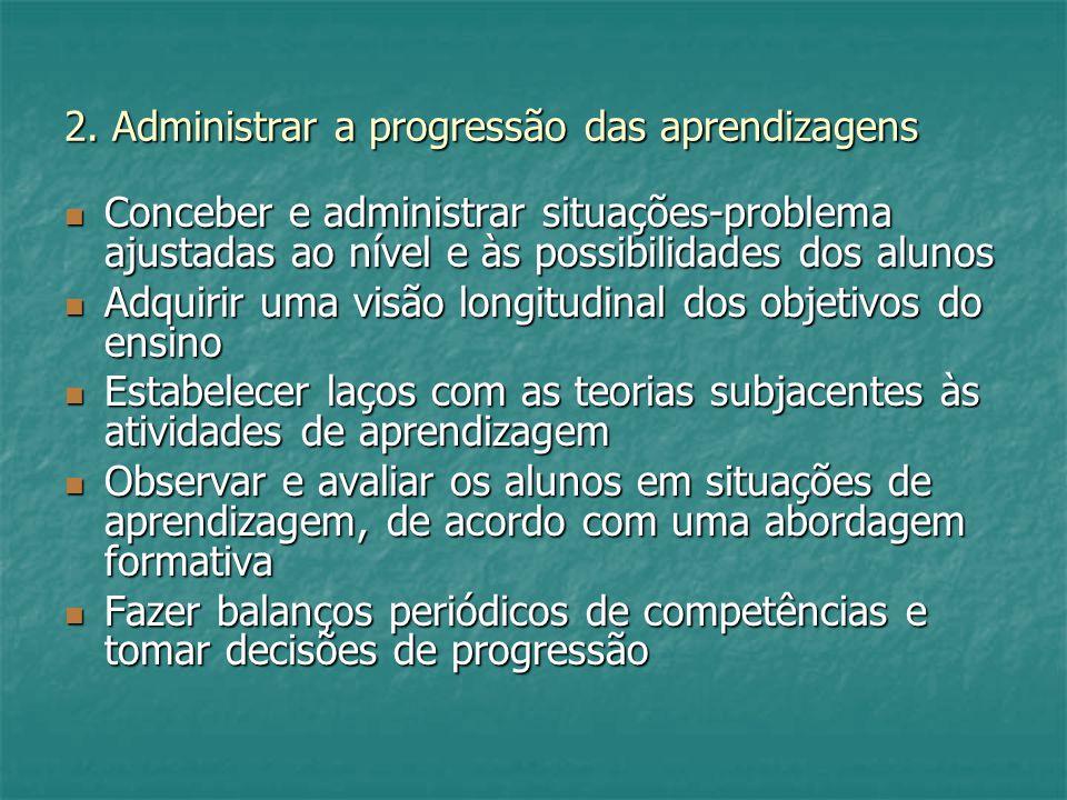 2. Administrar a progressão das aprendizagens Conceber e administrar situações-problema ajustadas ao nível e às possibilidades dos alunos Conceber e a