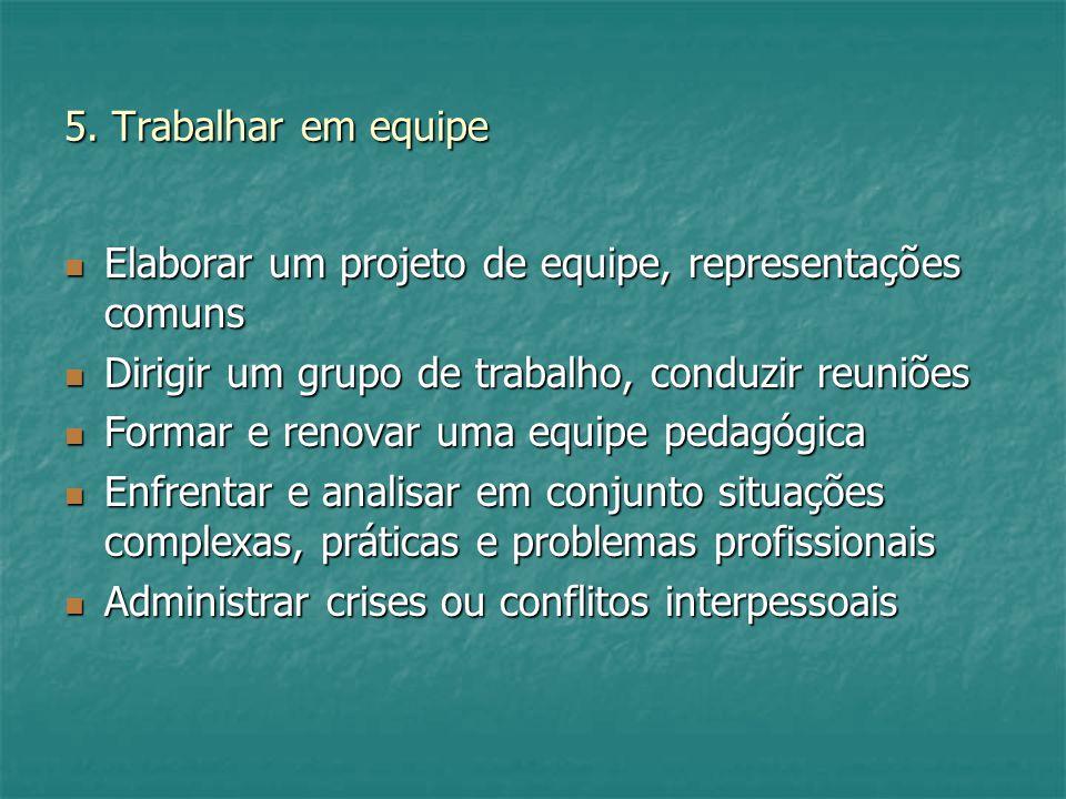 5. Trabalhar em equipe Elaborar um projeto de equipe, representações comuns Elaborar um projeto de equipe, representações comuns Dirigir um grupo de t