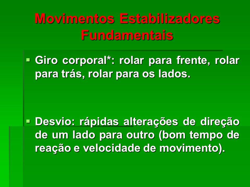 Movimentos Estabilizadores Fundamentais Giro corporal*: rolar para frente, rolar para trás, rolar para os lados.