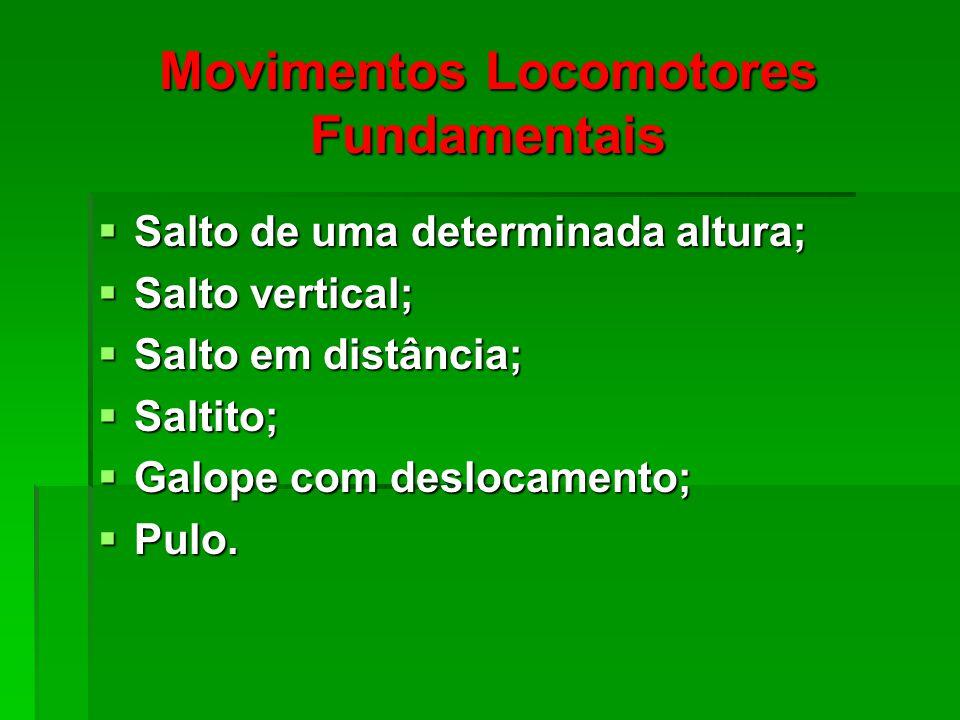 Movimentos Locomotores Fundamentais Salto de uma determinada altura; Salto de uma determinada altura; Salto vertical; Salto vertical; Salto em distância; Salto em distância; Saltito; Saltito; Galope com deslocamento; Galope com deslocamento; Pulo.