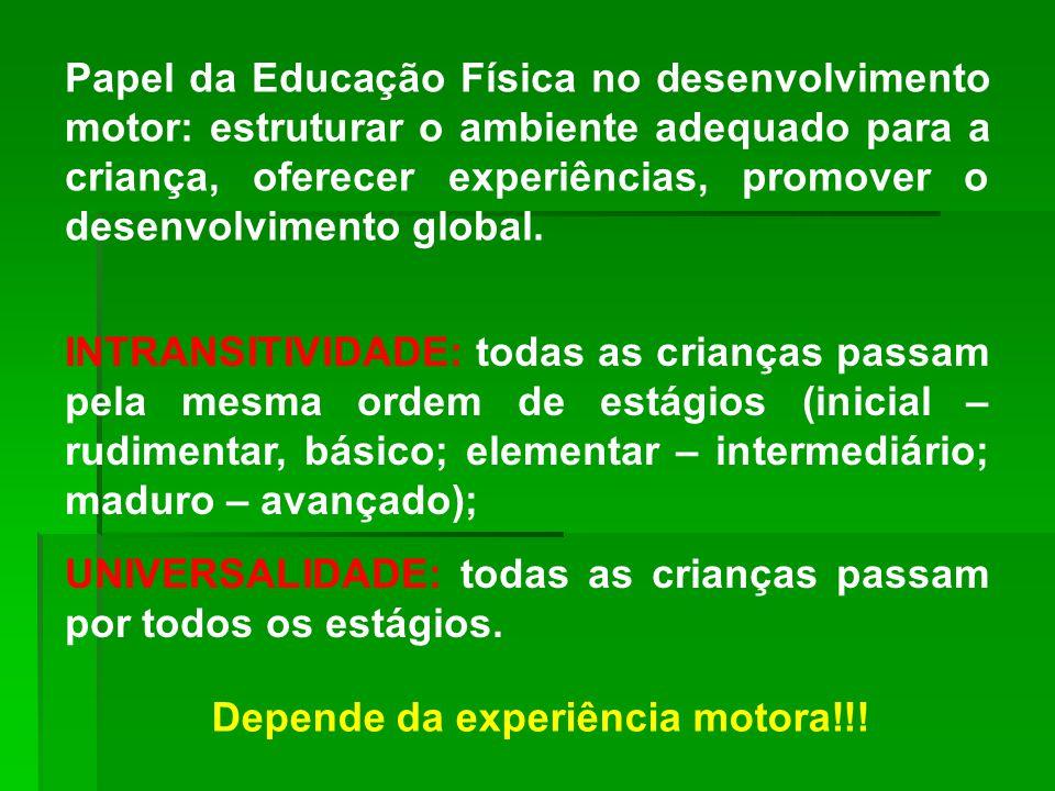 Papel da Educação Física no desenvolvimento motor: estruturar o ambiente adequado para a criança, oferecer experiências, promover o desenvolvimento global.