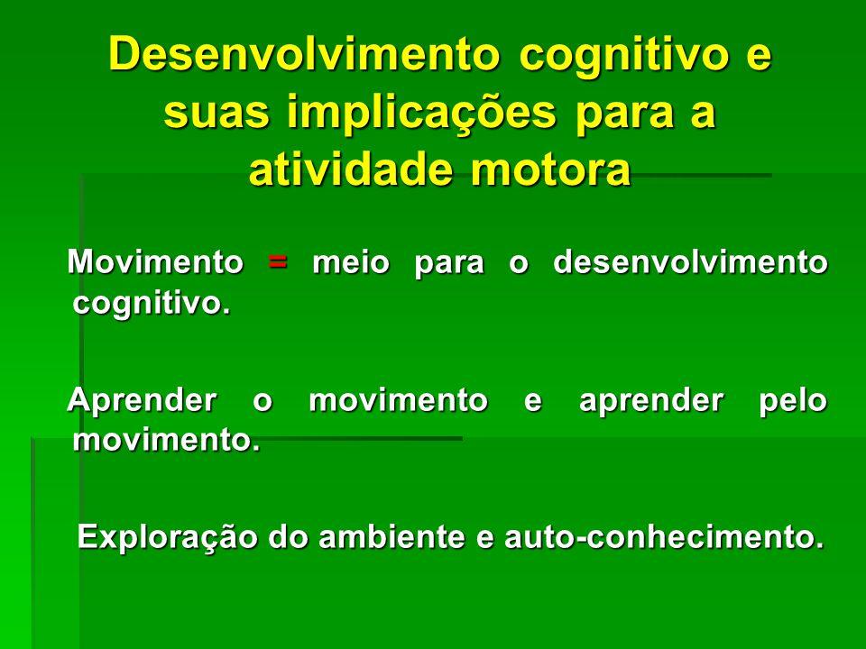 Desenvolvimento cognitivo e suas implicações para a atividade motora Movimento = meio para o desenvolvimento cognitivo.