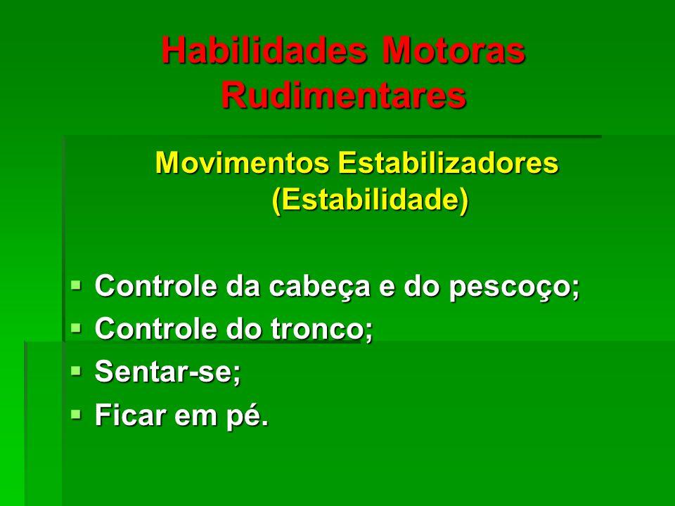 Habilidades Motoras Rudimentares Movimentos Estabilizadores (Estabilidade) Controle da cabeça e do pescoço; Controle da cabeça e do pescoço; Controle do tronco; Controle do tronco; Sentar-se; Sentar-se; Ficar em pé.
