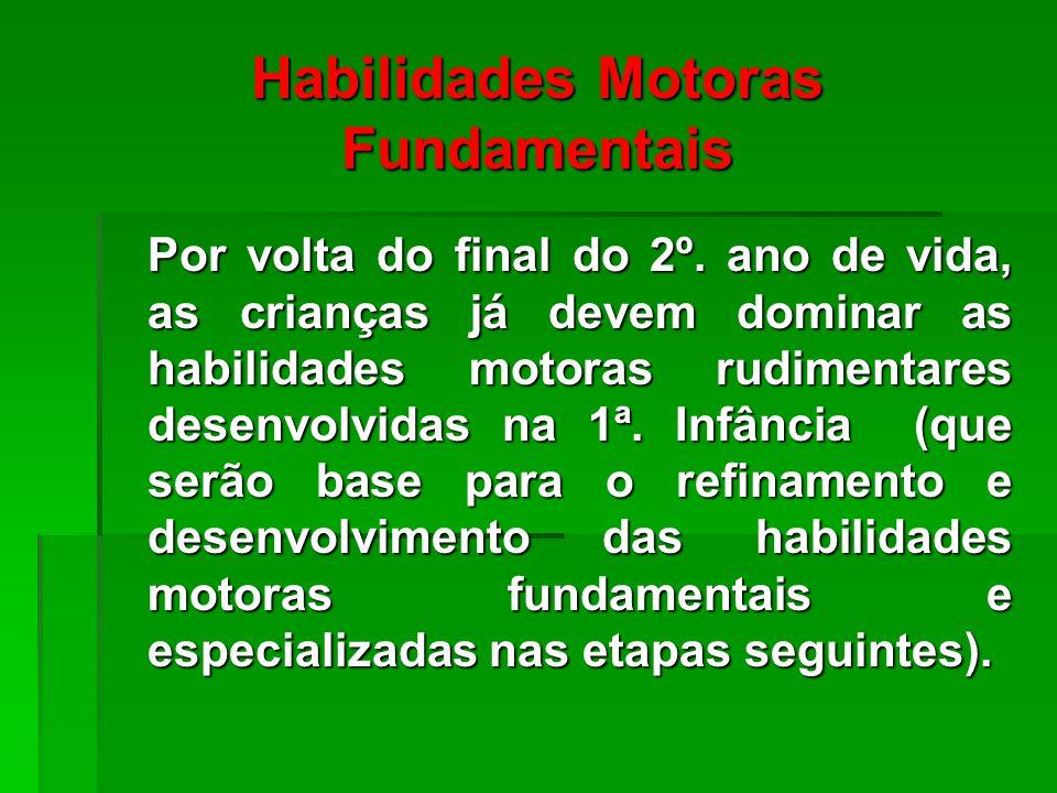 Habilidades Motoras Fundamentais Por volta do final do 2º.