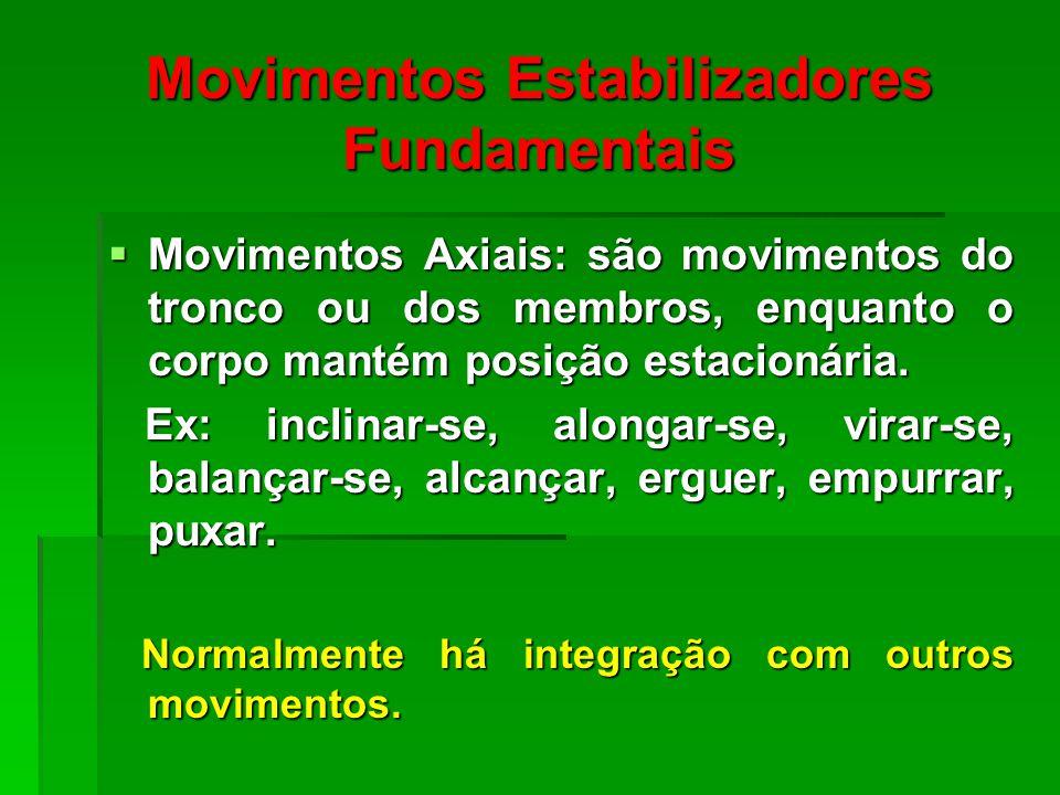 Movimentos Estabilizadores Fundamentais Movimentos Axiais: são movimentos do tronco ou dos membros, enquanto o corpo mantém posição estacionária.