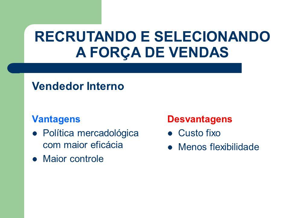Vantagens Política mercadológica com maior eficácia Maior controle RECRUTANDO E SELECIONANDO A FORÇA DE VENDAS Desvantagens Custo fixo Menos flexibilidade Vendedor Interno