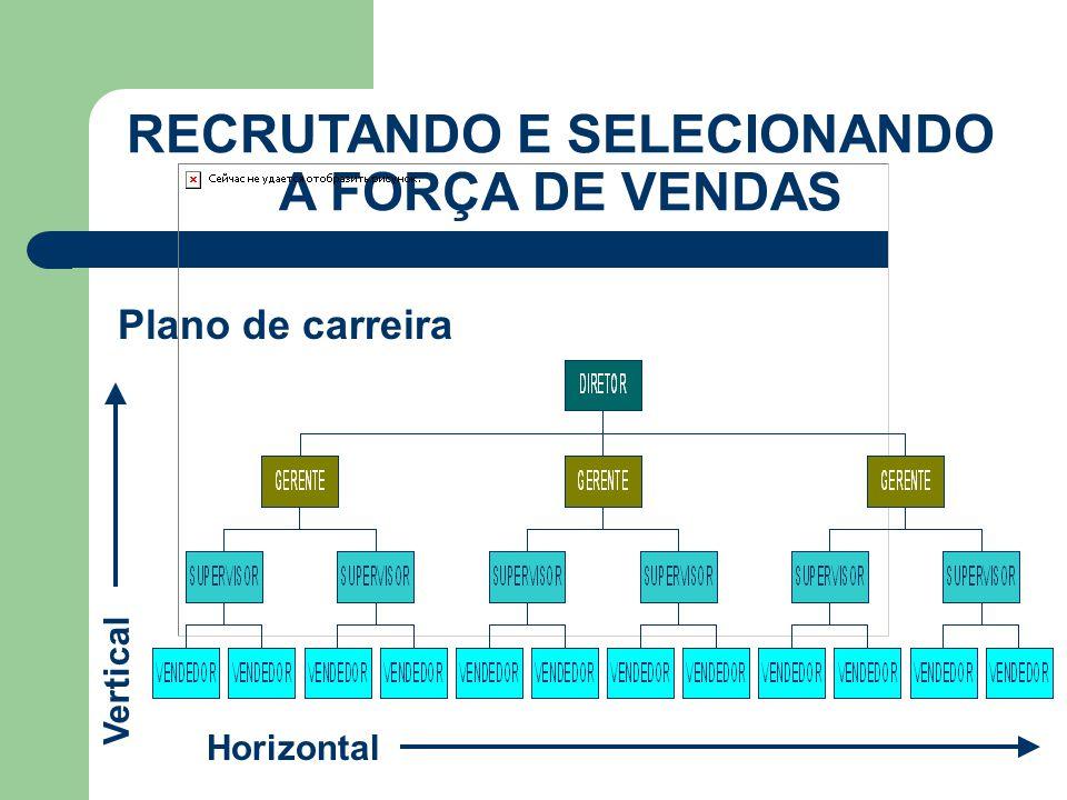 Plano de carreira RECRUTANDO E SELECIONANDO A FORÇA DE VENDAS Horizontal Vertical