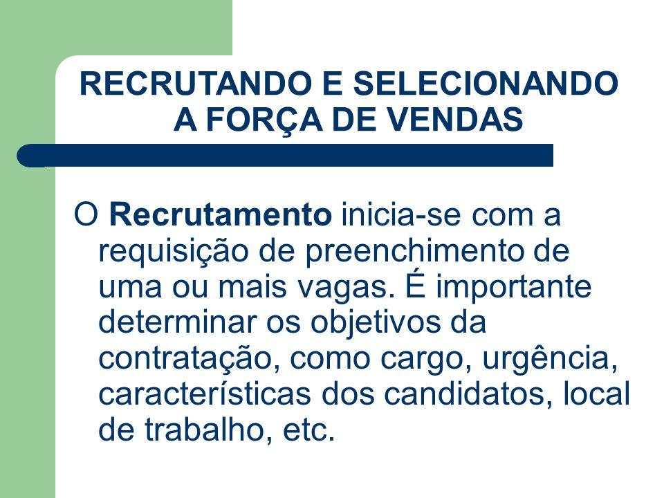 Cuidados na condução da entrevista Deixar o candidato à vontade buscando sua naturalidade RECRUTANDO E SELECIONANDO A FORÇA DE VENDAS
