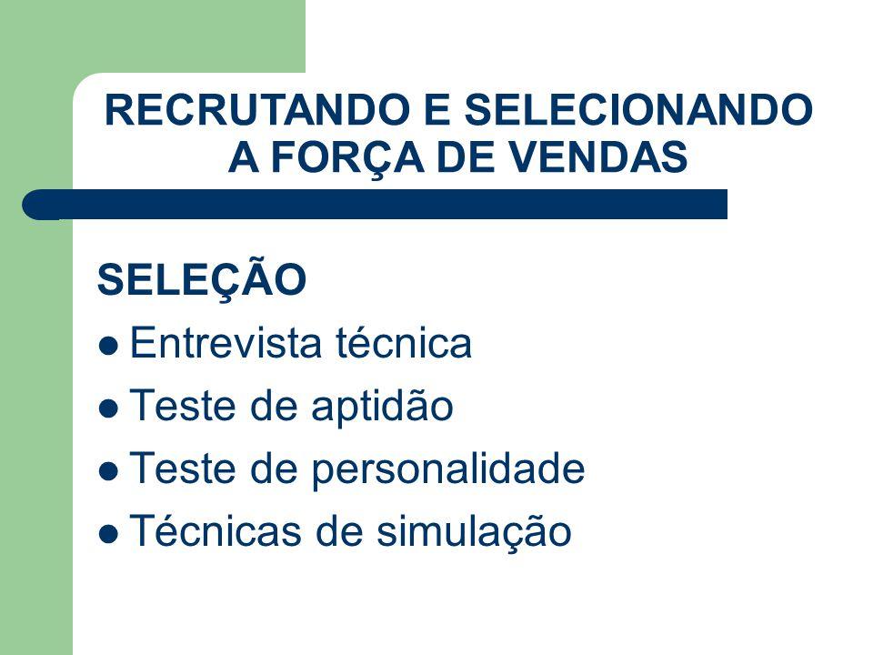 SELEÇÃO Entrevista técnica Teste de aptidão Teste de personalidade Técnicas de simulação RECRUTANDO E SELECIONANDO A FORÇA DE VENDAS
