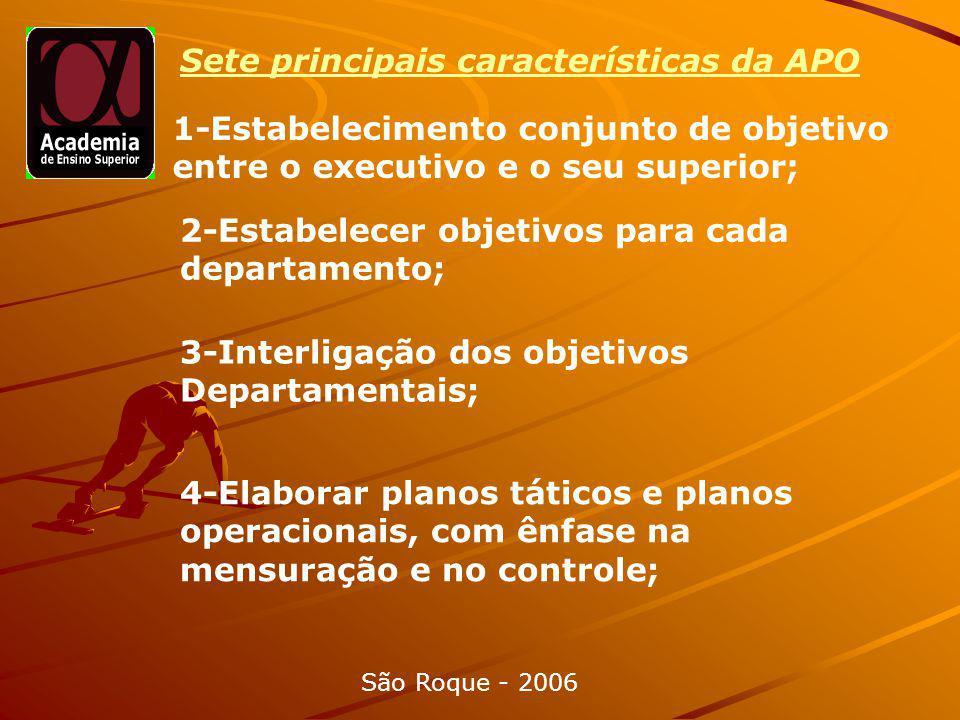 Sete principais características da APO 1-Estabelecimento conjunto de objetivo entre o executivo e o seu superior; 2-Estabelecer objetivos para cada departamento; 3-Interligação dos objetivos Departamentais; 4-Elaborar planos táticos e planos operacionais, com ênfase na mensuração e no controle; São Roque - 2006