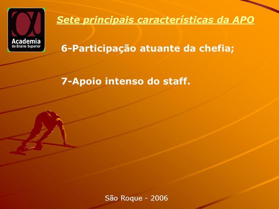 6-Participação atuante da chefia; São Roque - 2006 7-Apoio intenso do staff.