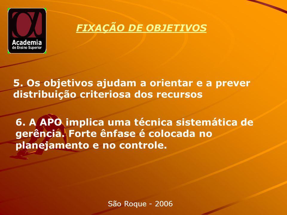 FIXAÇÃO DE OBJETIVOS São Roque - 2006 5.