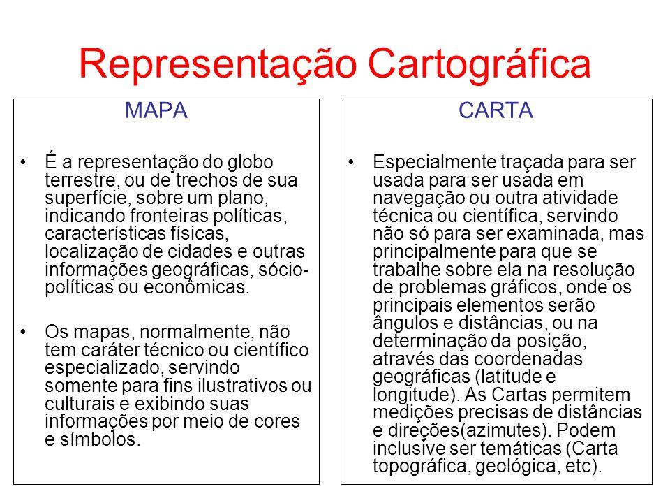 Representação Cartográfica MAPA É a representação do globo terrestre, ou de trechos de sua superfície, sobre um plano, indicando fronteiras políticas,
