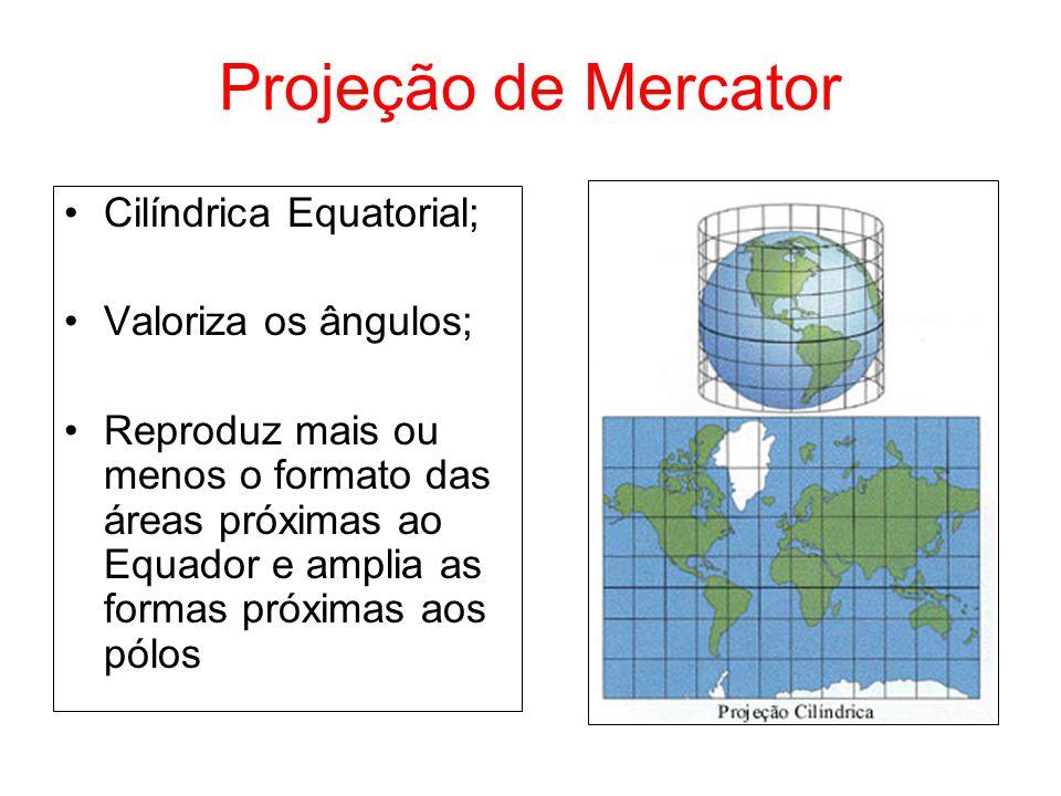 Projeção de Mercator Cilíndrica Equatorial; Valoriza os ângulos; Reproduz mais ou menos o formato das áreas próximas ao Equador e amplia as formas pró