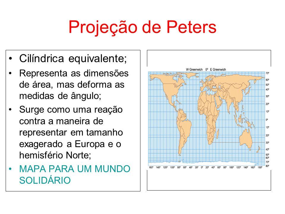Projeção de Peters Cilíndrica equivalente; Representa as dimensões de área, mas deforma as medidas de ângulo; Surge como uma reação contra a maneira d