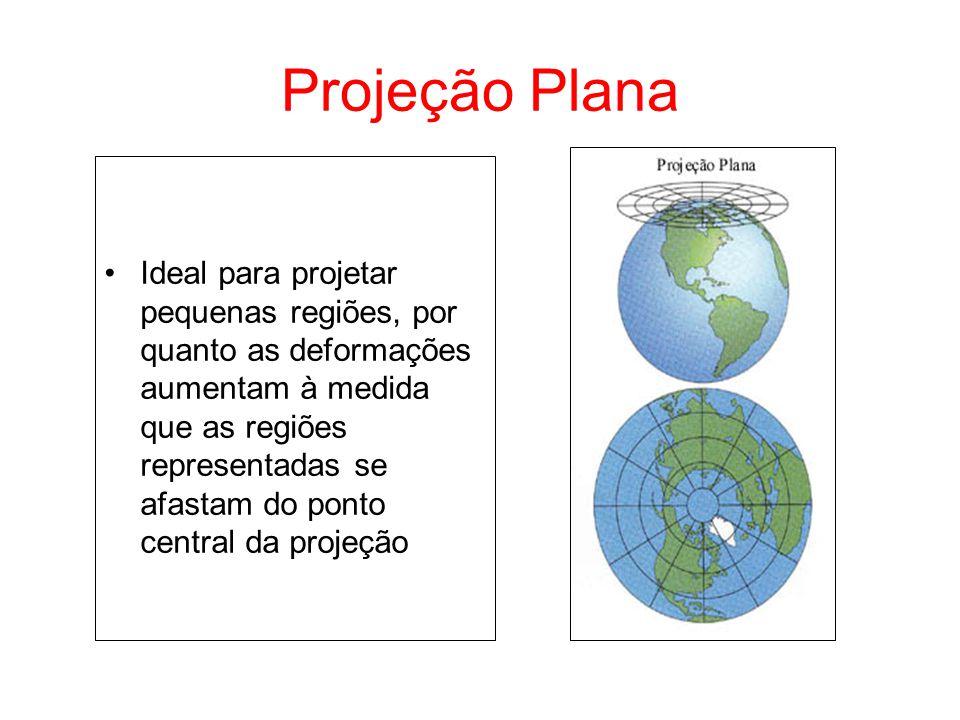 Projeção Plana Ideal para projetar pequenas regiões, por quanto as deformações aumentam à medida que as regiões representadas se afastam do ponto cent