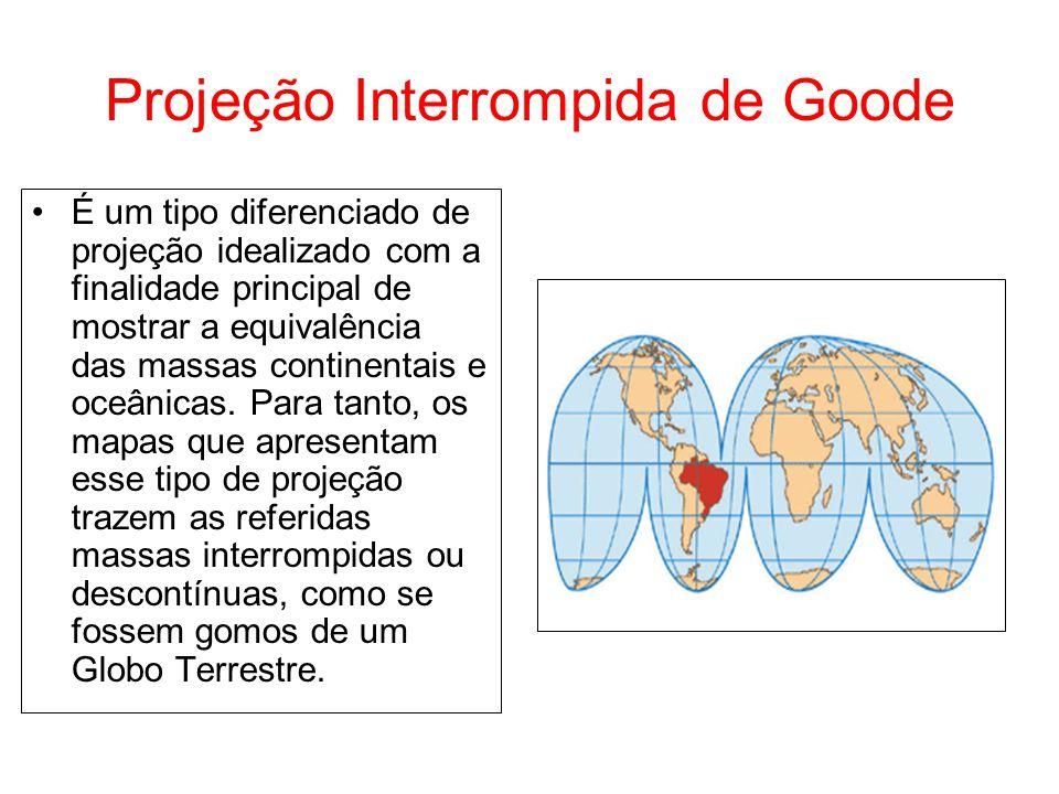 Projeção Interrompida de Goode É um tipo diferenciado de projeção idealizado com a finalidade principal de mostrar a equivalência das massas continent