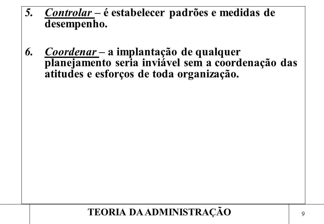 9 TEORIA DA ADMINISTRAÇÃO 5.Controlar – é estabelecer padrões e medidas de desempenho. 6.Coordenar – a implantação de qualquer planejamento seria invi