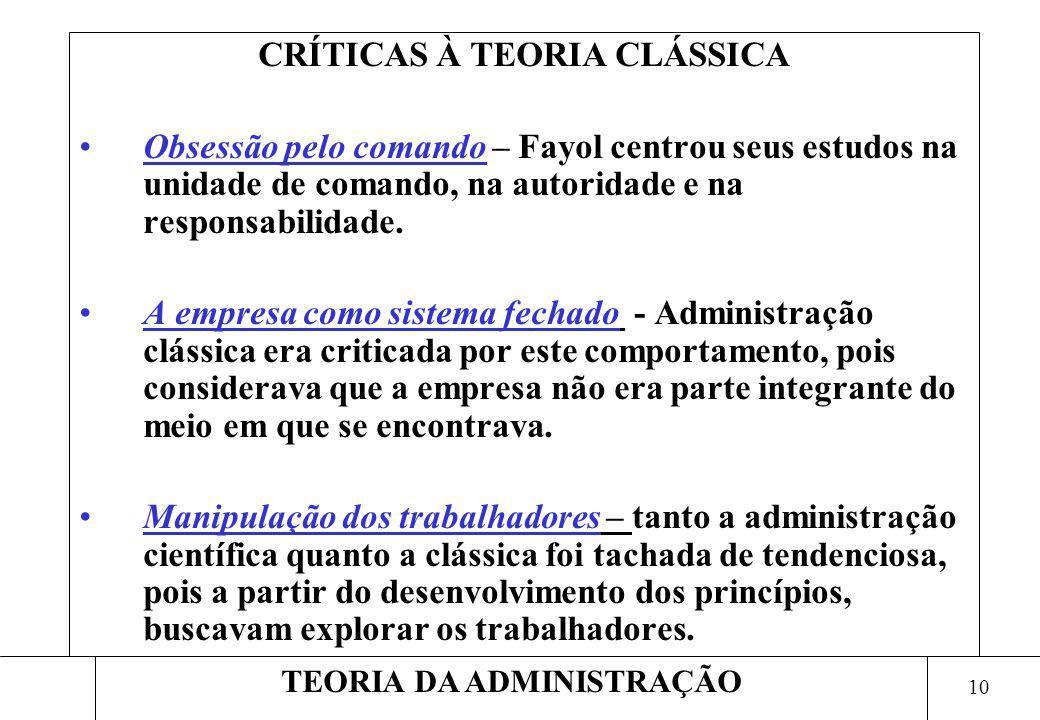 10 TEORIA DA ADMINISTRAÇÃO CRÍTICAS À TEORIA CLÁSSICA Obsessão pelo comando – Fayol centrou seus estudos na unidade de comando, na autoridade e na res