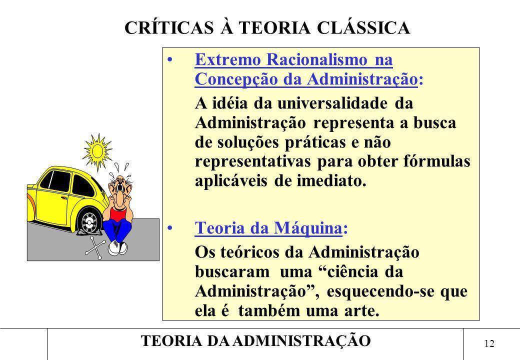 12 TEORIA DA ADMINISTRAÇÃO Extremo Racionalismo na Concepção da Administração: A idéia da universalidade da Administração representa a busca de soluçõ
