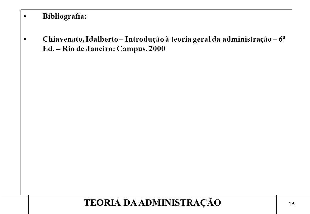 15 TEORIA DA ADMINISTRAÇÃO Bibliografia: Chiavenato, Idalberto – Introdução à teoria geral da administração – 6ª Ed. – Rio de Janeiro: Campus, 2000