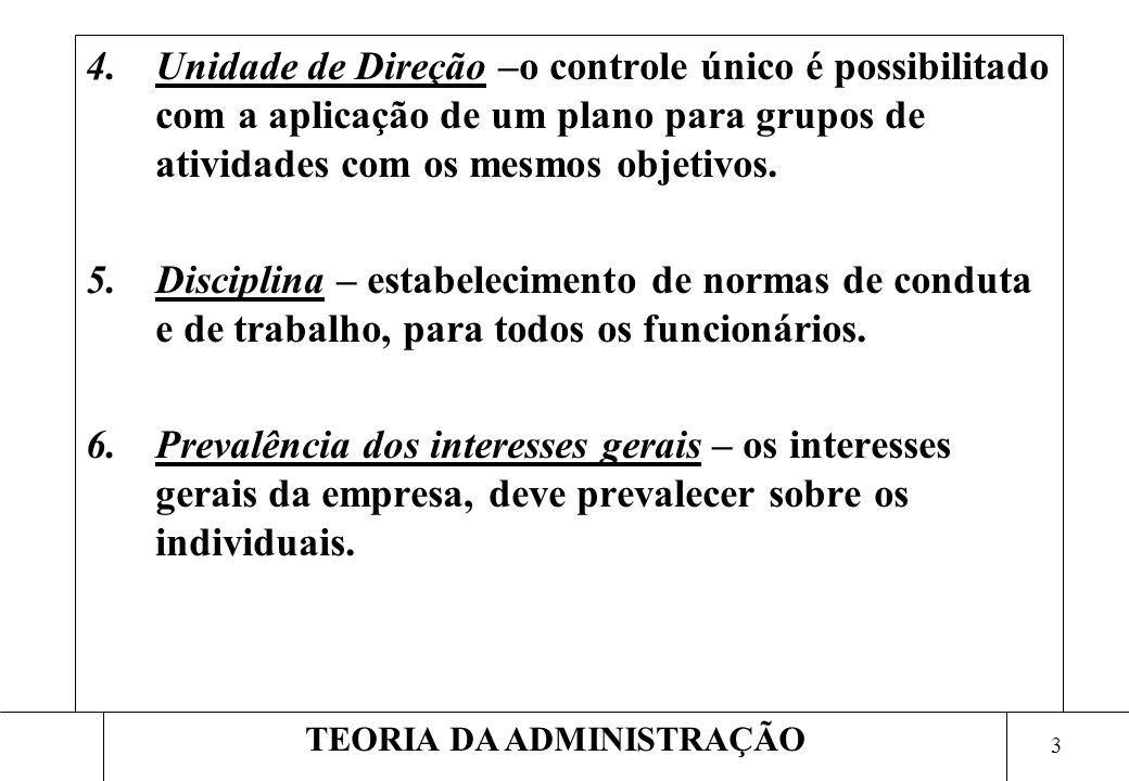 3 TEORIA DA ADMINISTRAÇÃO 4.Unidade de Direção –o controle único é possibilitado com a aplicação de um plano para grupos de atividades com os mesmos o