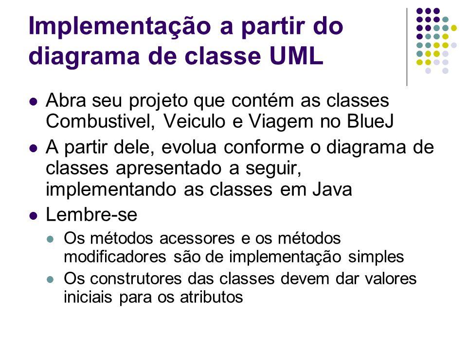 Implementação a partir do diagrama de classe UML Abra seu projeto que contém as classes Combustivel, Veiculo e Viagem no BlueJ A partir dele, evolua c