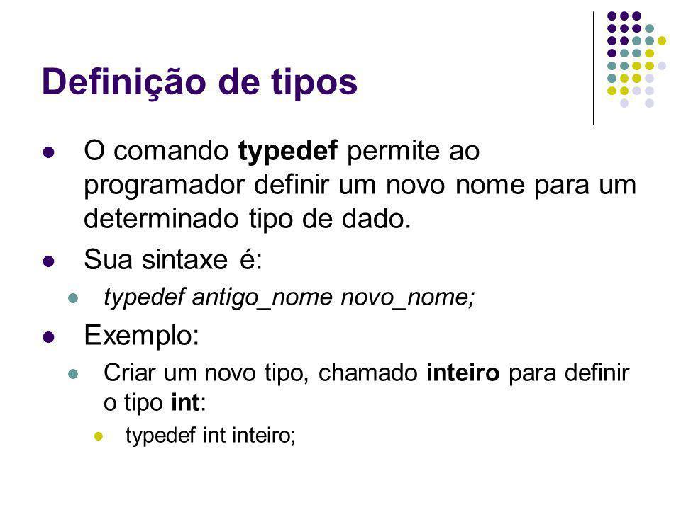 Definição de tipos O comando typedef também pode ser utilizado para dar nome a tipos complexos, como por exemplos as estruturas.