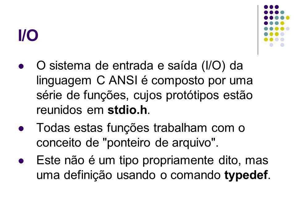 I/O O sistema de entrada e saída (I/O) da linguagem C ANSI é composto por uma série de funções, cujos protótipos estão reunidos em stdio.h.