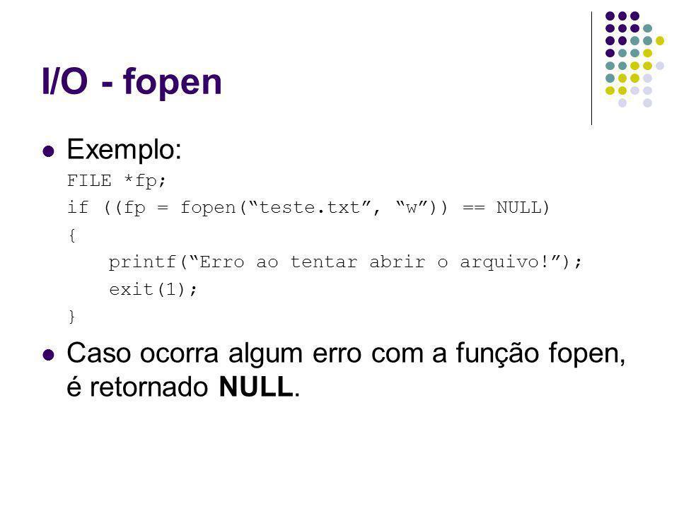 I/O - fopen Exemplo: FILE *fp; if ((fp = fopen(teste.txt, w)) == NULL) { printf(Erro ao tentar abrir o arquivo!); exit(1); } Caso ocorra algum erro com a função fopen, é retornado NULL.