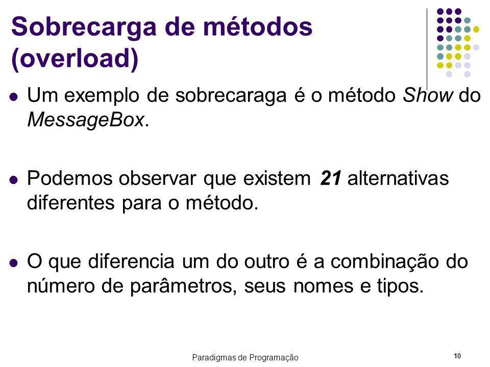 Paradigmas de Programação 10 Sobrecarga de métodos (overload) Um exemplo de sobrecaraga é o método Show do MessageBox. Podemos observar que existem 21