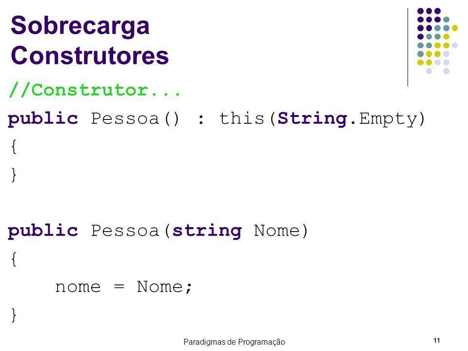 Paradigmas de Programação 11 Sobrecarga Construtores //Construtor... public Pessoa() : this(String.Empty) { } public Pessoa(string Nome) { nome = Nome