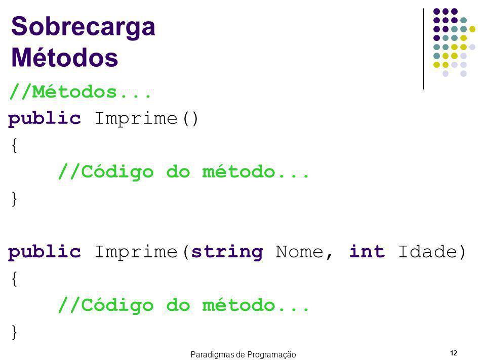Paradigmas de Programação 12 Sobrecarga Métodos //Métodos... public Imprime() { //Código do método... } public Imprime(string Nome, int Idade) { //Cód
