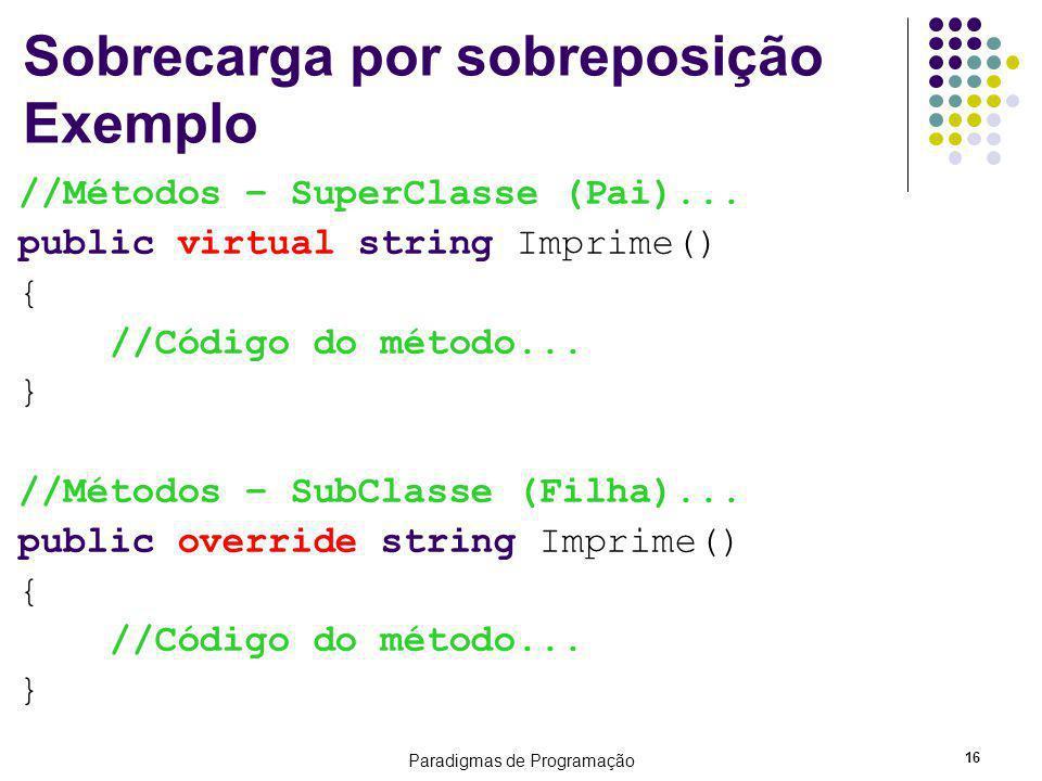 Paradigmas de Programação 16 Sobrecarga por sobreposição Exemplo //Métodos – SuperClasse (Pai)... public virtual string Imprime() { //Código do método