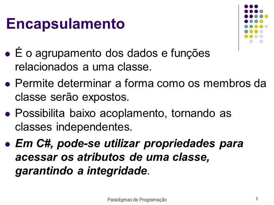 Paradigmas de Programação 3 Encapsulamento É o agrupamento dos dados e funções relacionados a uma classe. Permite determinar a forma como os membros d