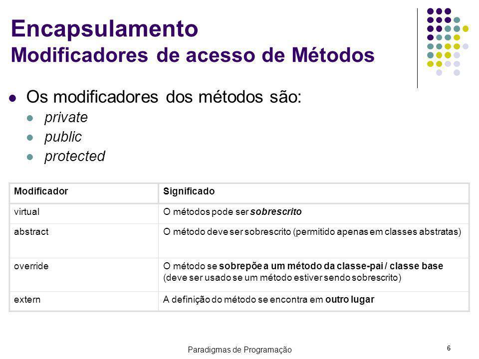 Paradigmas de Programação 6 Encapsulamento Modificadores de acesso de Métodos Os modificadores dos métodos são: private public protected ModificadorSi
