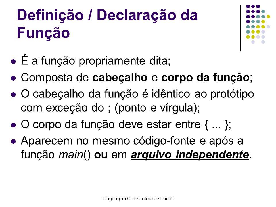 Linguagem C - Estrutura de Dados Definição / Declaração da Função É a função propriamente dita; Composta de cabeçalho e corpo da função; O cabeçalho d