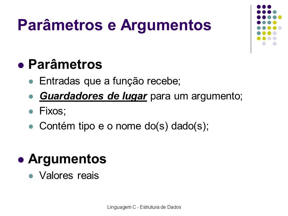 Linguagem C - Estrutura de Dados Parâmetros e Argumentos Parâmetros Entradas que a função recebe; Guardadores de lugar para um argumento; Fixos; Conté
