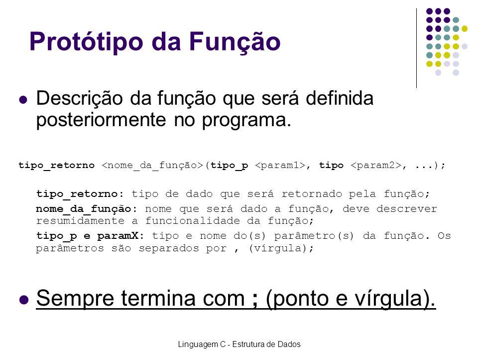 Linguagem C - Estrutura de Dados Funções que RETORNAM valores Protótipo:float fSoma(float fVal1, float fVal2); Chamada:fResultado = fSoma(10, 20); ou printf(Resultado: %f!, fSoma(15, 35)); Definição:float fSoma(float fVal1, float fVal2) { float fRes; fRes = fVal1 + fVal2; return(fRes); //return(fVal1 + fVal2); }
