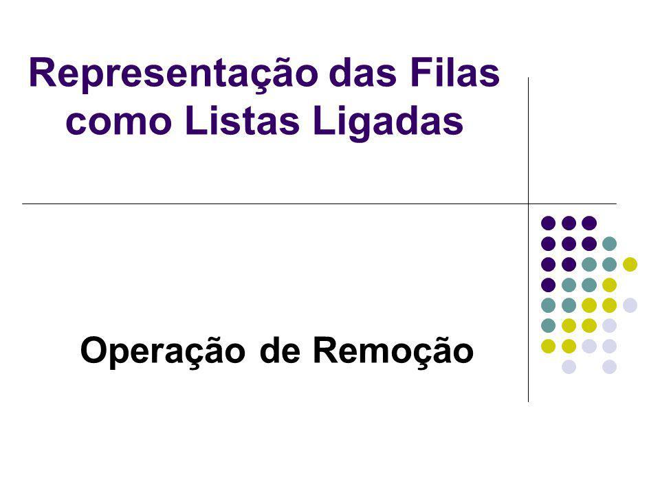 Representação das Filas como Listas Ligadas Operação de Remoção