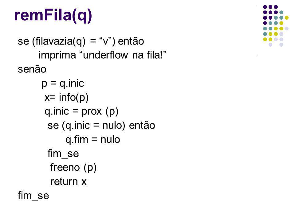 remFila(q) se (filavazia(q) = v) então imprima underflow na fila! senão p = q.inic x= info(p) q.inic = prox (p) se (q.inic = nulo) então q.fim = nulo