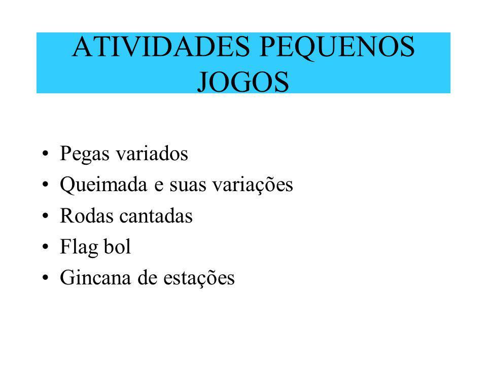 ATIVIDADES PEQUENOS JOGOS Pegas variados Queimada e suas variações Rodas cantadas Flag bol Gincana de estações