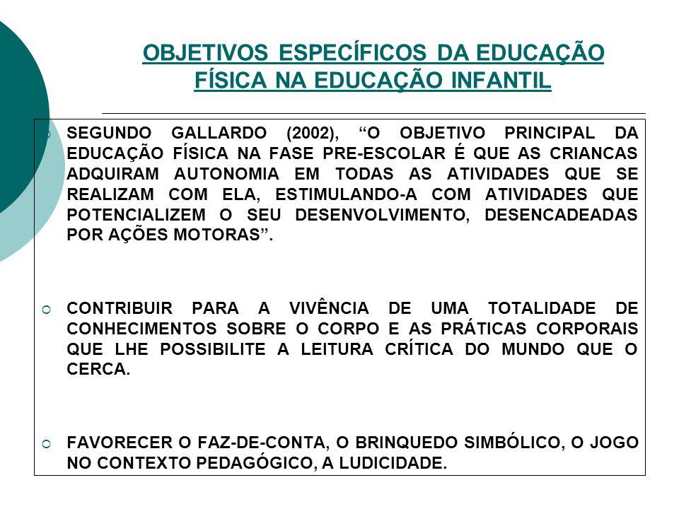 OBJETIVOS ESPECÍFICOS DA EDUCAÇÃO FÍSICA NA EDUCAÇÃO INFANTIL GALLARDO (2002), O OBJETIVO PRINCIPAL DA EDUCAÇÃO FÍSICA NA FASE PRE-ESCOLAR É QUE AS CR
